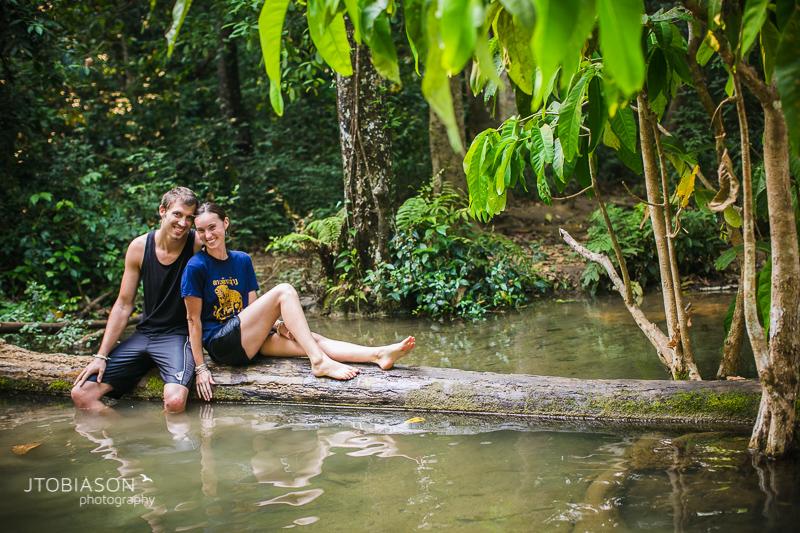 Engagement Photos Laos waterfall