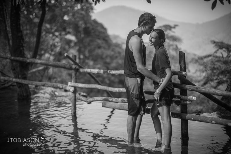 Engagement Photos Laos waterfall black white