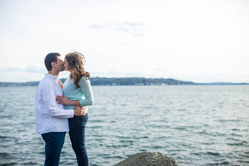 seattle waterfront engagement photo