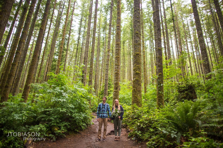 couple hiking trees photo