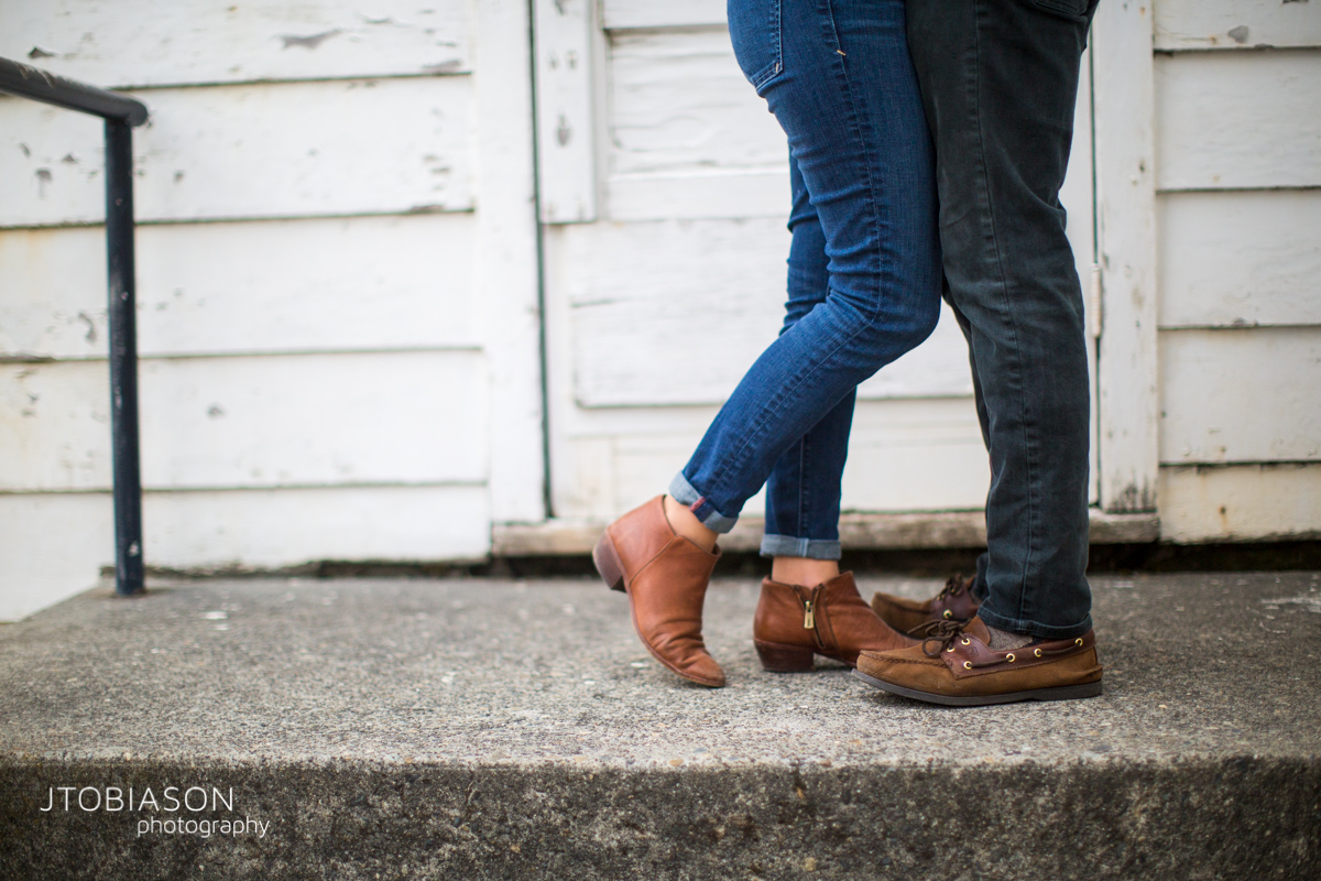 Couple's feet engagement photo