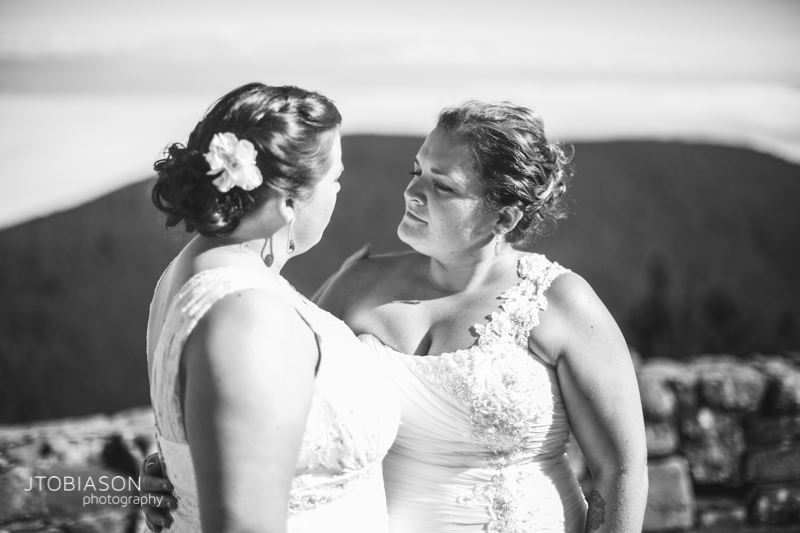 brides smile together photo