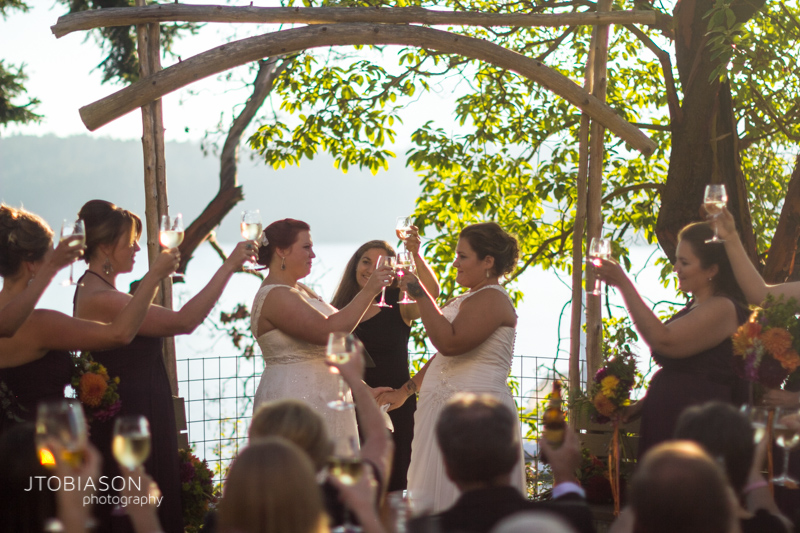 Toast at Orcas Island Wedding Odd Fellows Hall photo