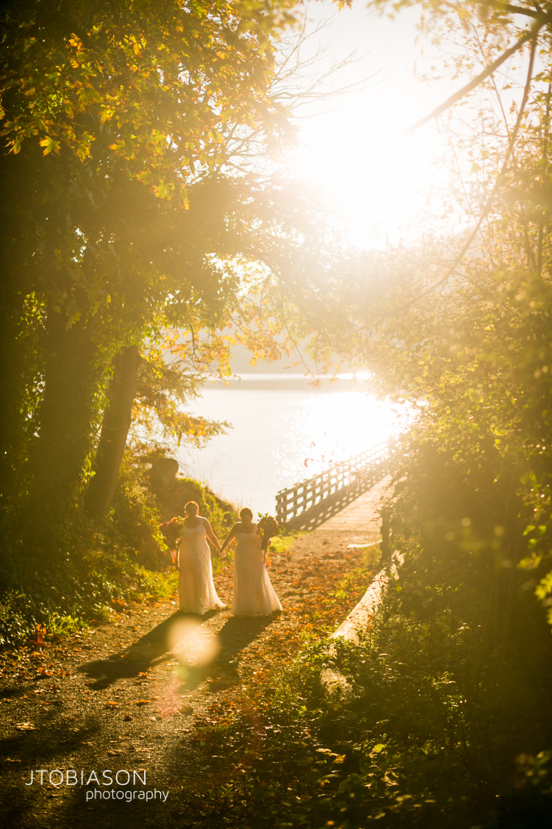 Brides walk in the sunset photo