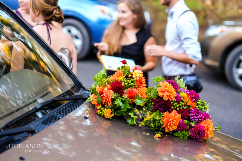 Flowers on car photo