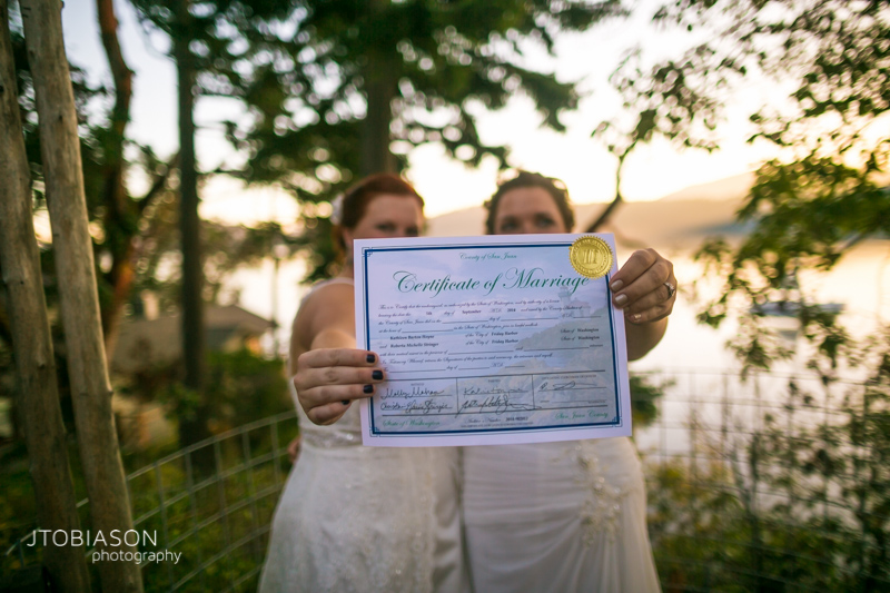 Certificate of marriage orcas island wedding at Odd Fellows Hall photo