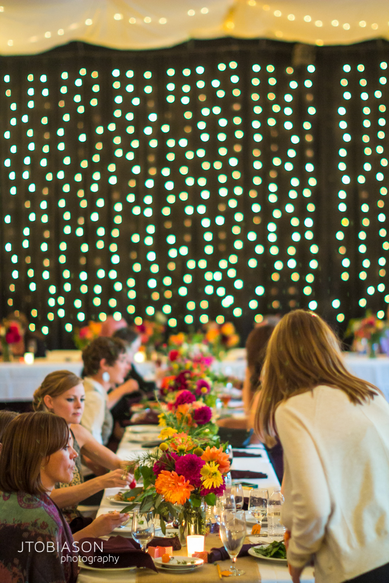 dinner tables at odd fellows hall wedding photo