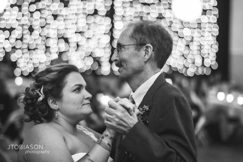 bride dances with father orcas island wedding photo