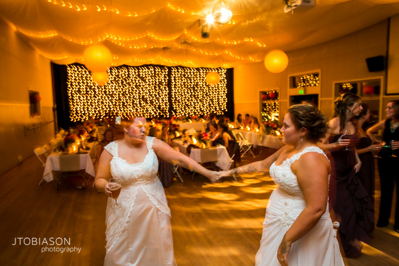 Brides dance at Orcas Island Wedding at Odd Fellows Hall photo
