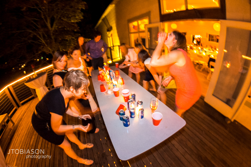 Everyone Plays Flip Cup at Orcas Island WEdding photo
