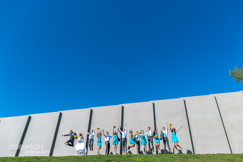 Sculpture garden wedding party photo photo