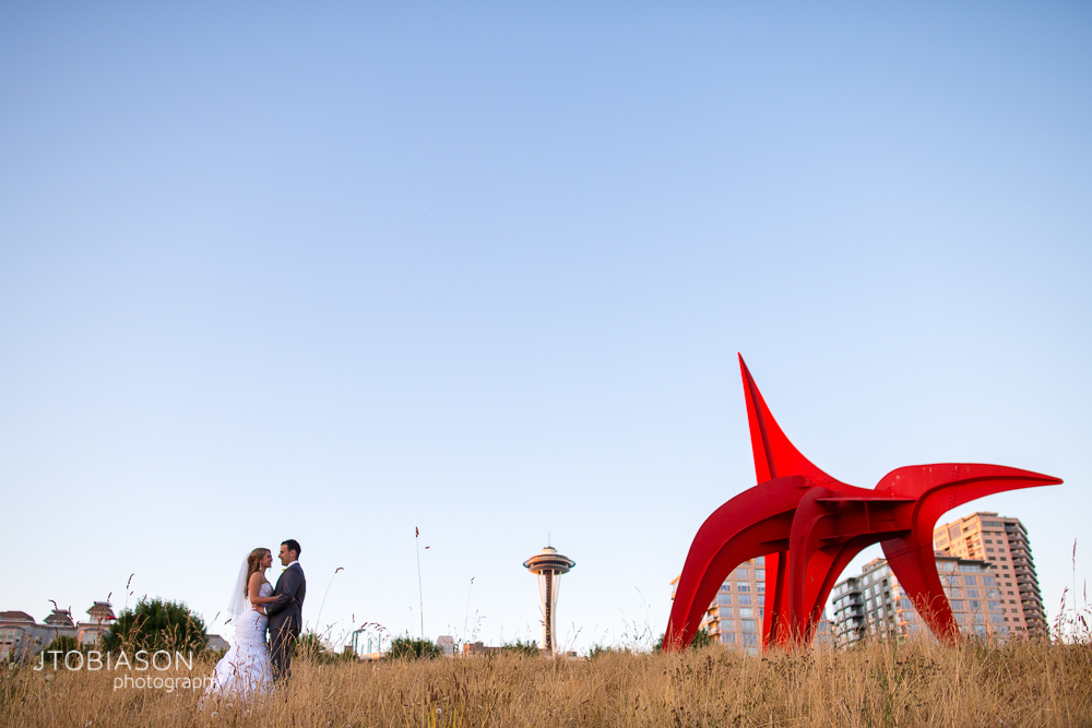 couple poses together by space needle photo
