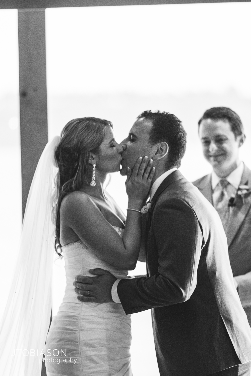 first kiss edgewater wedding photo