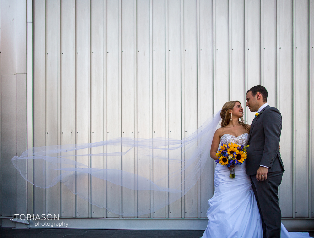 veil blows in the wind edgewater wedding photo