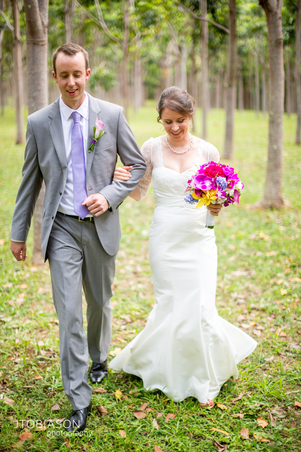 Bride and groom walk photo