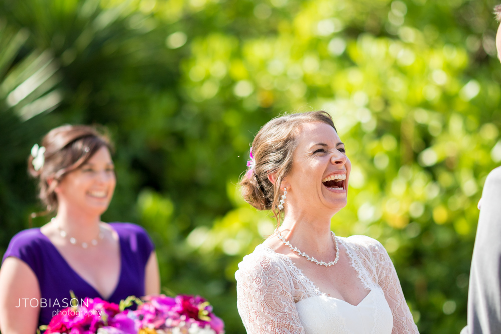 Bride laughs Kauai Beach Wedding photo