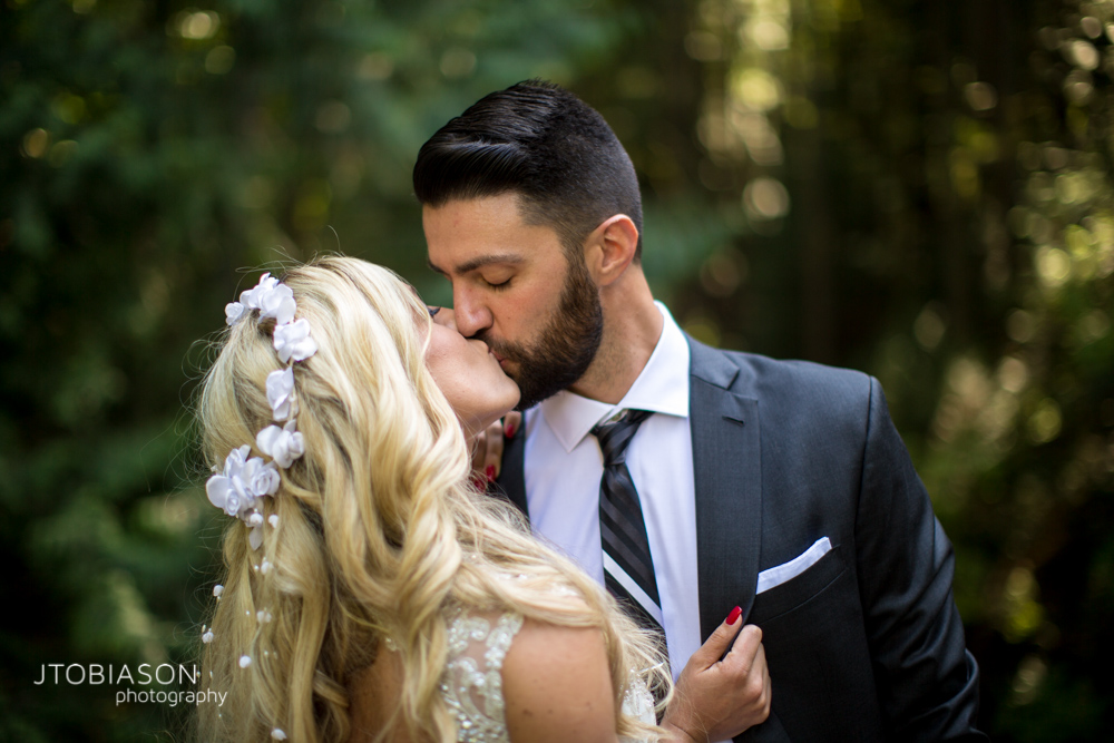 18 - Bride and groom kiss Bellingham Fall Wedding photo