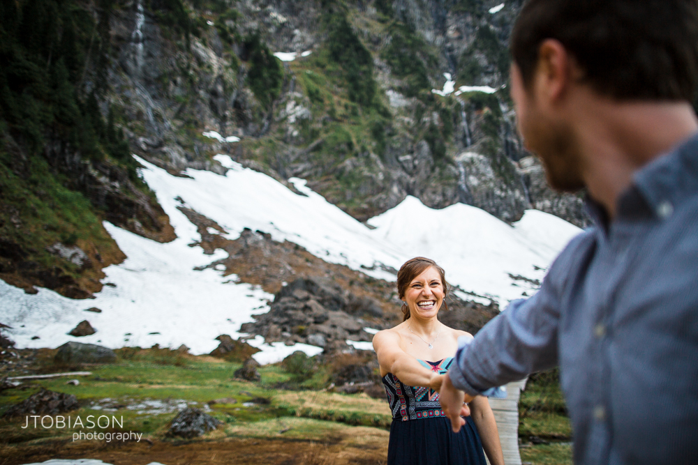 13 - woman smiles at man Lake 22 Engagement photo