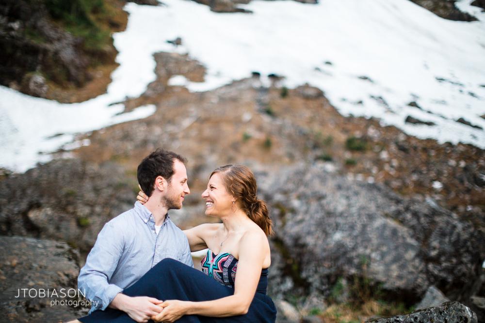 20 - Couple smiles Lake 22 Engagement photo