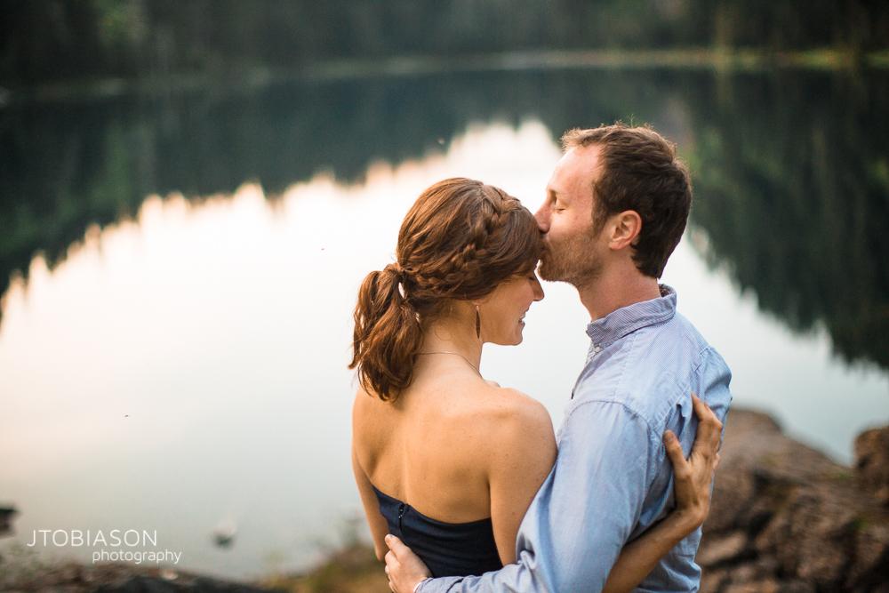 29 - Man kisses woman Lake 22 Engagement photo
