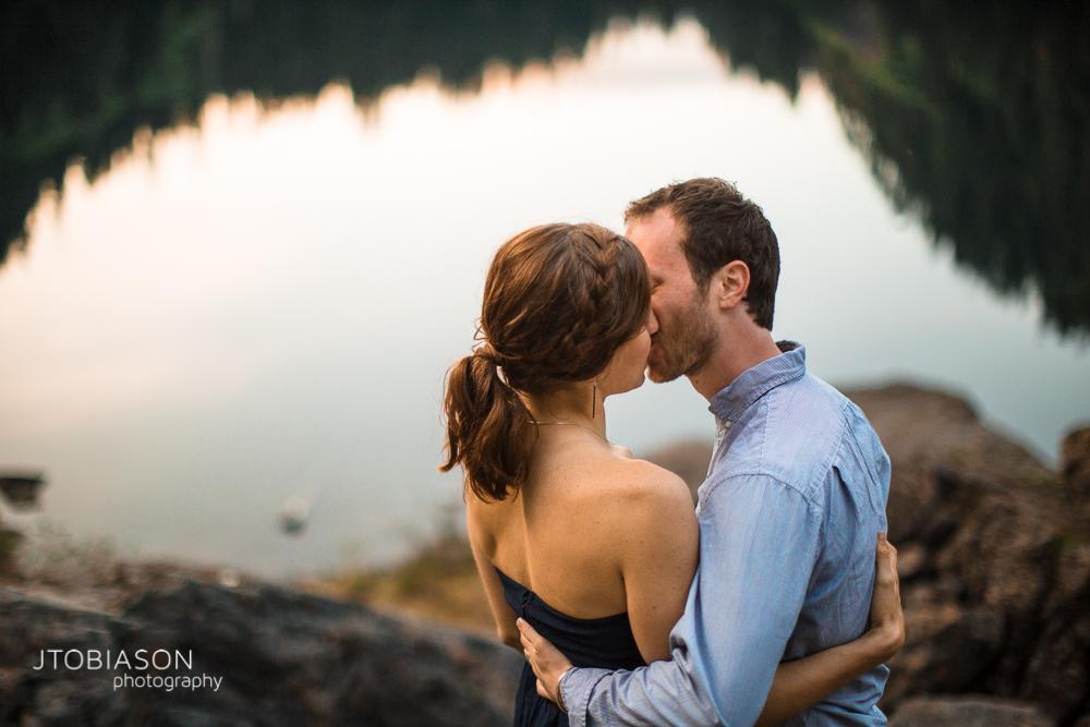 30 - Couple kisses Lake 22 Engagement photo