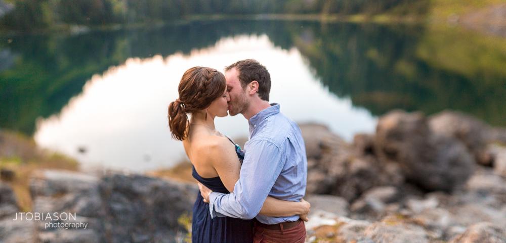 31 - Couple kisses Lake 22 Engagement photo