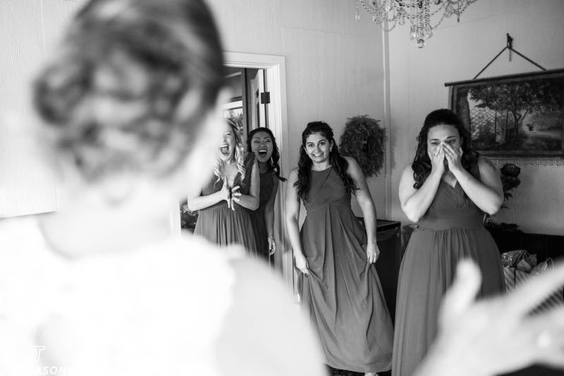 Bridesmaids see bride for first time hidden meadows wedding