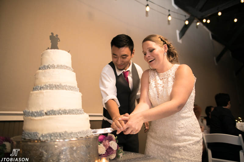 couple cuts cake hidden meadows wedding