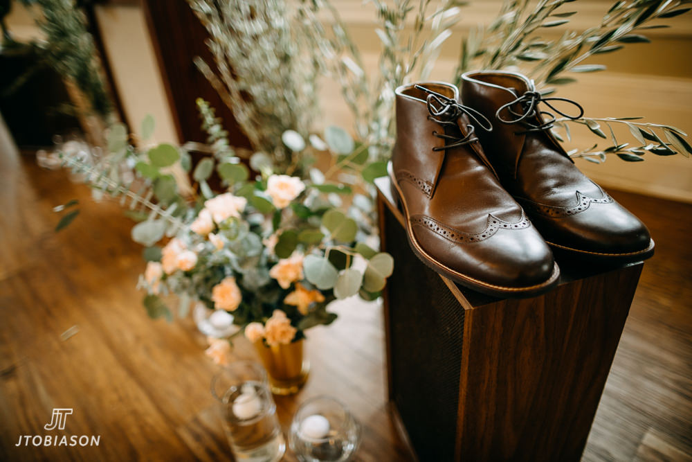 Grooms shoes great hall at green lake wedding photo