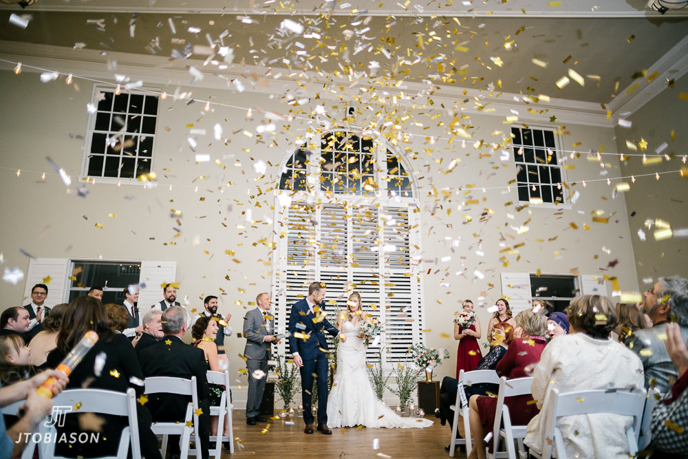 confetti canons great hall at green lake wedding photo