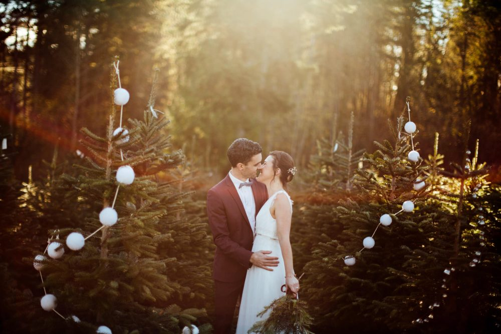 couple kisses in sunset trinity tree farm wedding