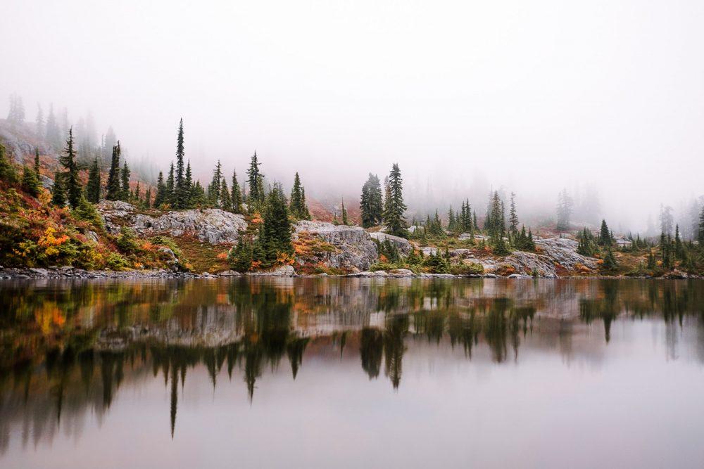 fall colors reflecting on mountain lake