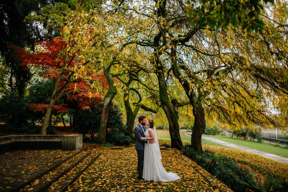 couple kisses under fall leaves fall leaves volunteer park wedding