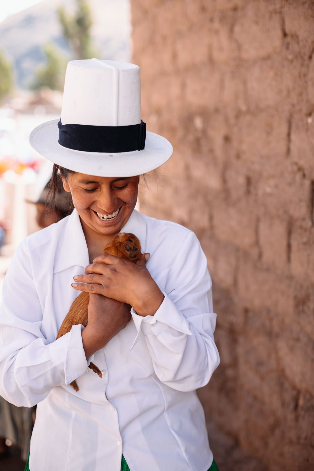 peruvian woman laughs while holding a guinea pig photo