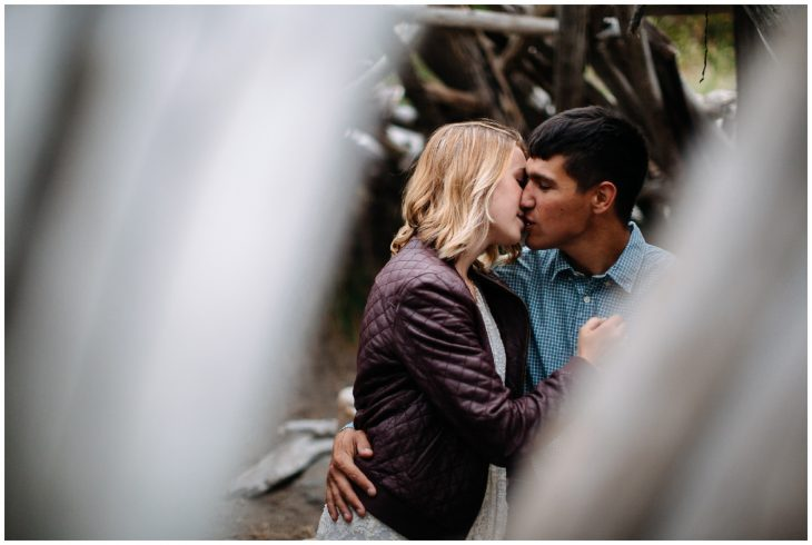 couple kiss in driftwood fort Discovery Park Engagement