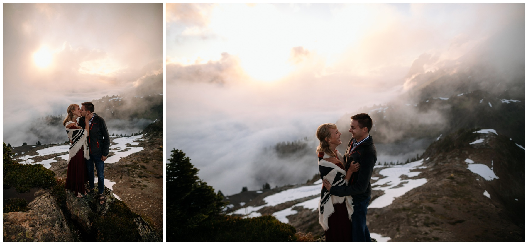 cascade mountaintop sunset engagement
