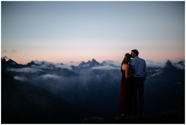 Cascade Mountaintop Sunset Engagement | Alison & Joel