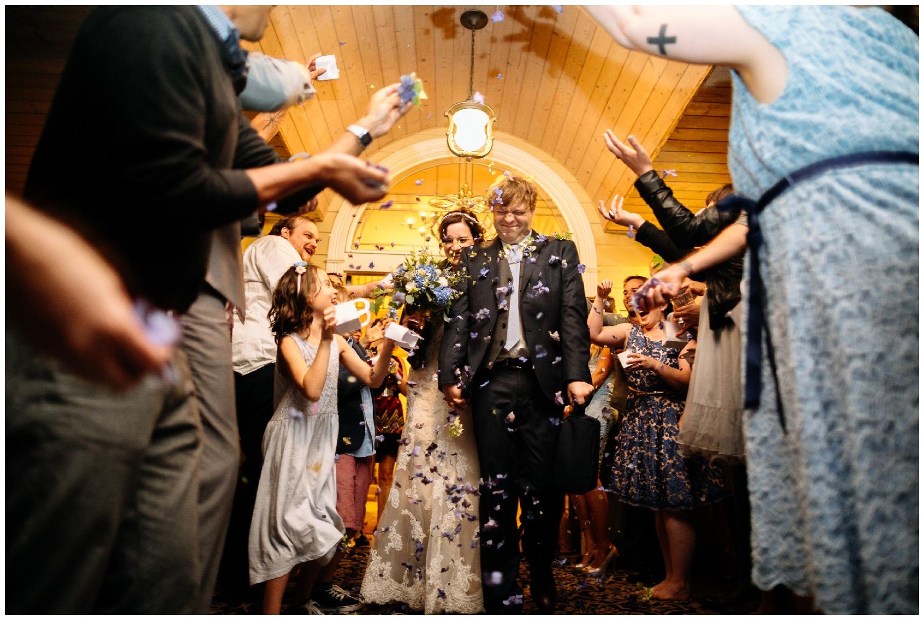 flower exit The Grand Willow Inn wedding