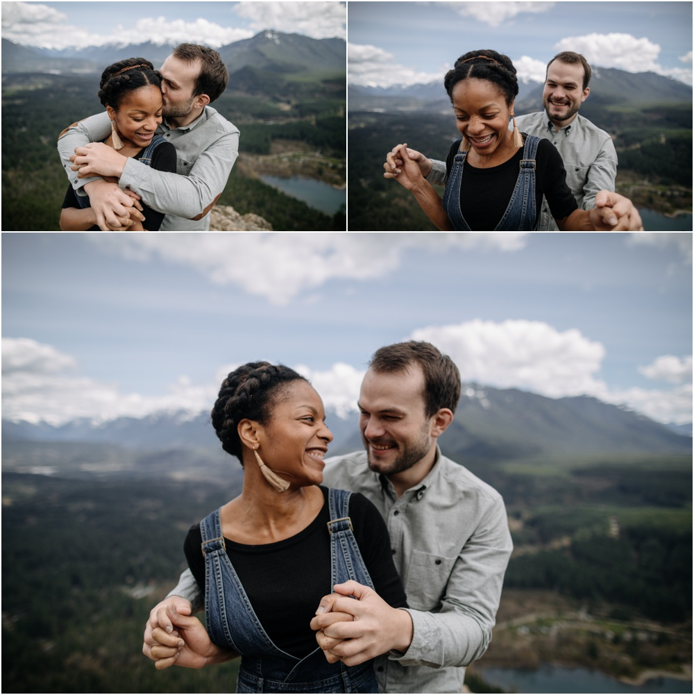 couple laughs together rattlesnake ledge engagement