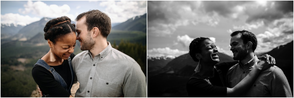 bride and groom laugh together rattlesnake ledge engagement
