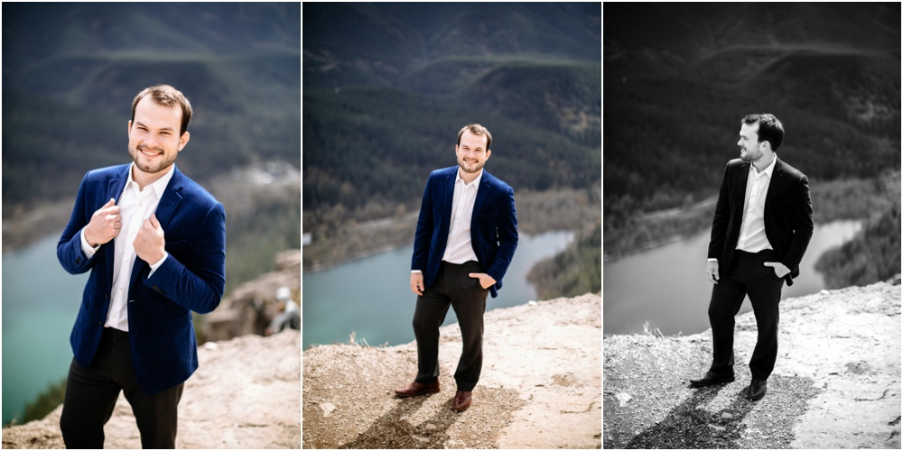 white man in suit on rattlesnake ledge