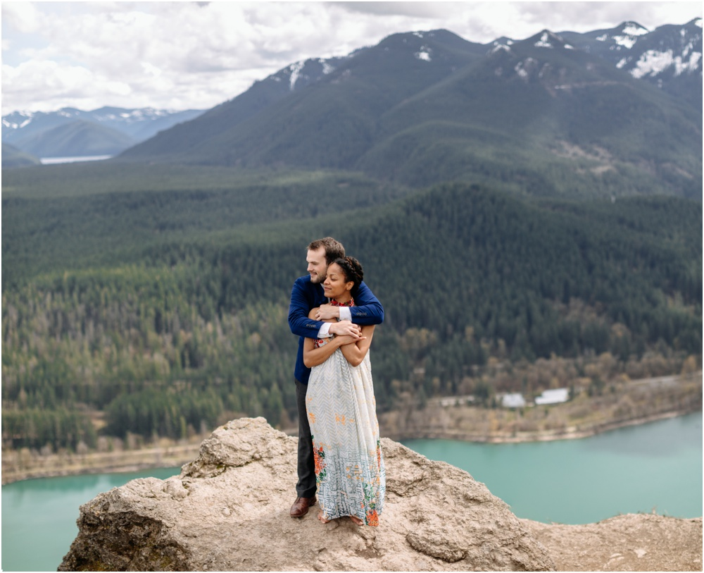 bride and groom together on rattlesnake ledge