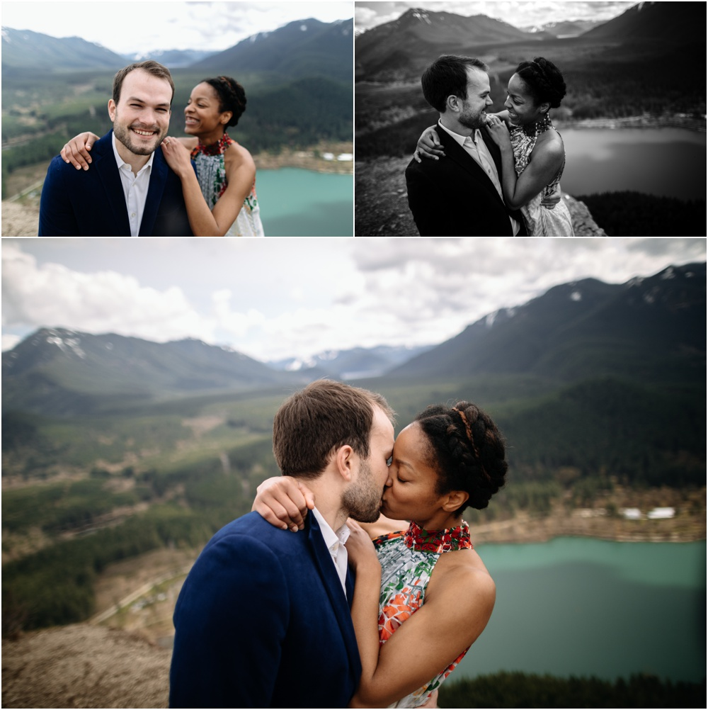 bride and groom kiss rattlesnake ledge engagement