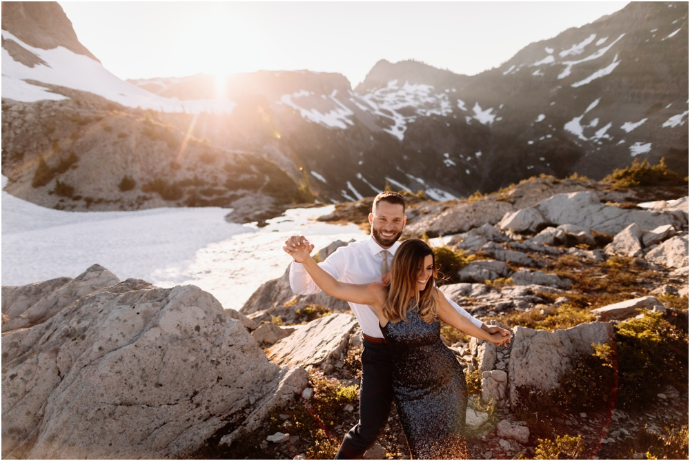 bride and groom dance Artist Point hiking engagement