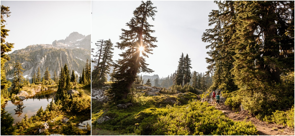 sunset photos PNW hiking engagement