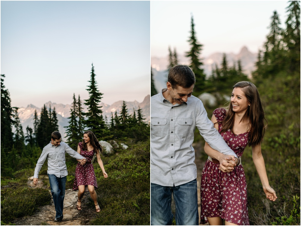 couple laughs together PNW hiking engagement