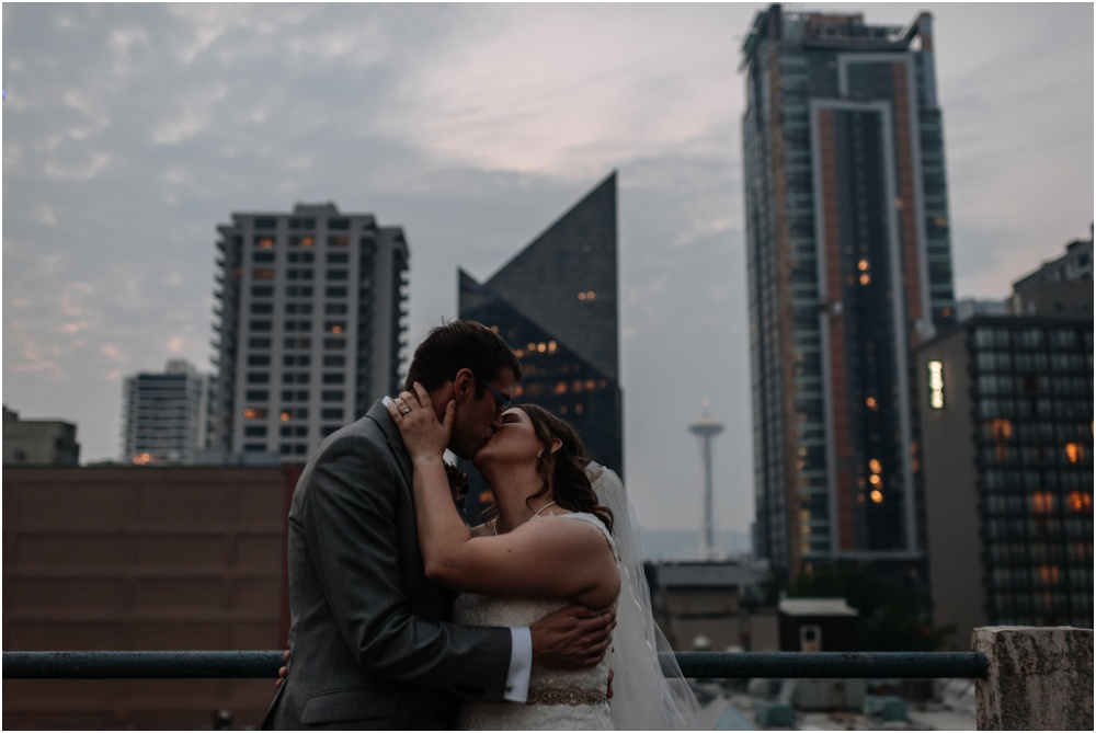 sunset photos with the Seattle skyline Palace Ballroom Wedding