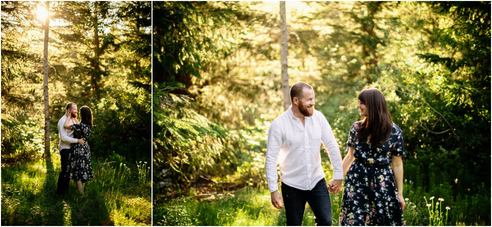 Sunset Gold Creek Pond engagement