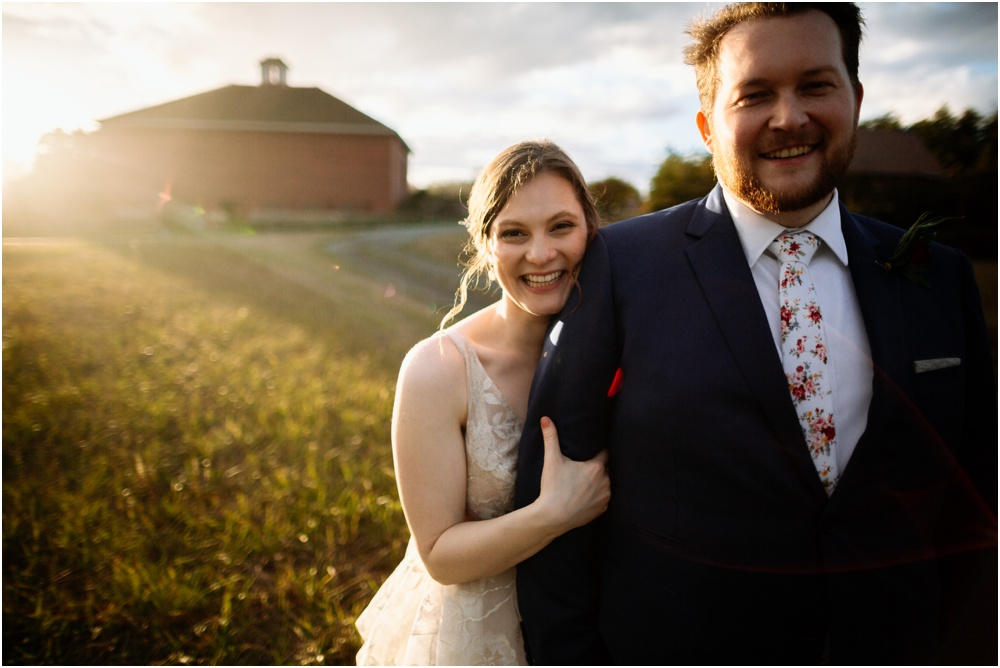 bride and groom smile in the sunset Crockett Farm Wedding