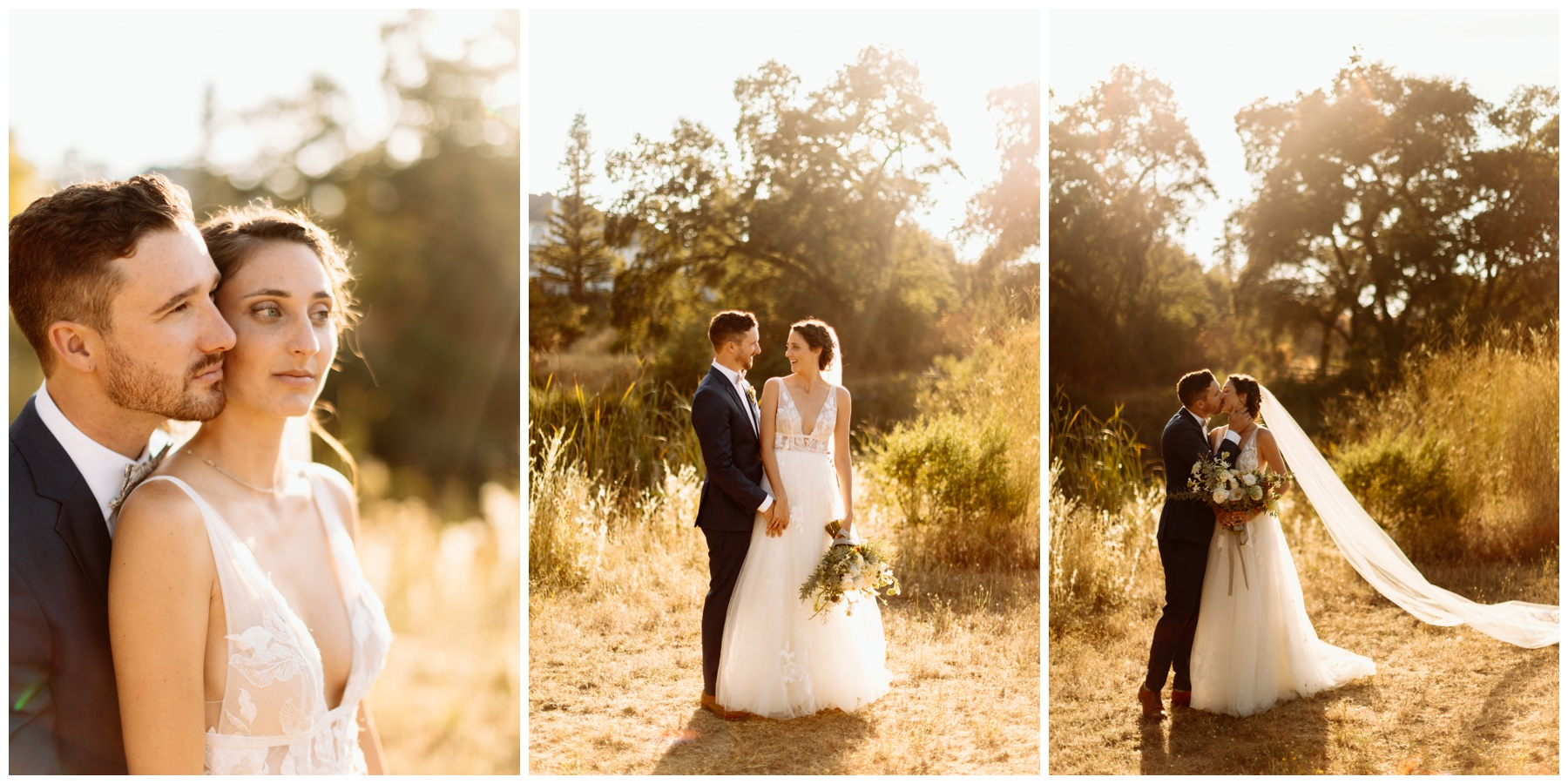 Sunset portraits of bride and groom at Highland Estate Wedding